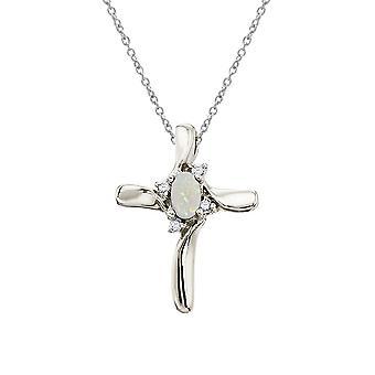 LXR 10k or blanc opal et diamant croix pendentif 0.08 ct