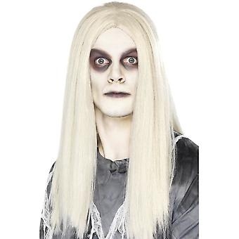 Long Grey Straight Wig, Ghost Town Indian Wig, Halloween Accessory