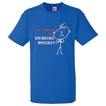 Mężczyźni, wolałbym być picie whisky czarna koszulka