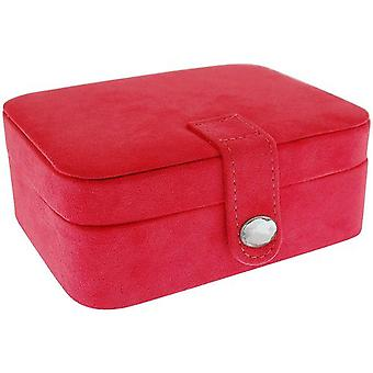Mele Pink Suedette Medium Jewellery Case Ideal For travel - Bejewelled Closure