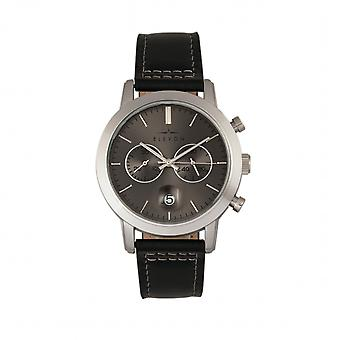 Elevon Langley Chronograph Leather-Band Watch w/ Date - Charcoal/Black