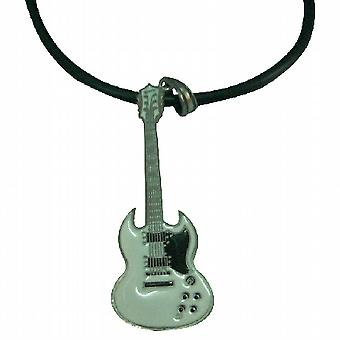 HipHop White Guitar Pendant Necklace For School Music Function