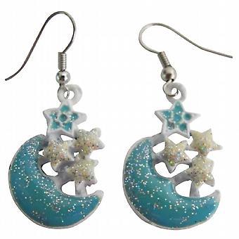 Blue Moon Dangling Earrings Shinning Stars Cute Earrings