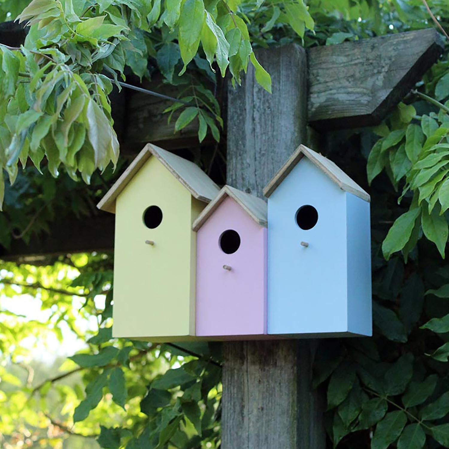 Natures Market BFNEST2  3 in 1 Various Sized Wooden Wood Wild Bird House Nesting Boxes (Blue, Yellow and Pink)