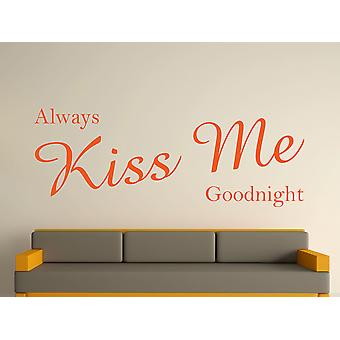 Always Kiss Me Goodnight Wall Art Sticker - Orange