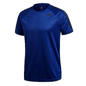 adidas D2M 3-Stripe Mens Frunning Fitness Sport Training T-Shirt Tee Blue