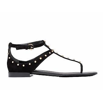 Balenciaga 422778waur01000 Kvinder's Sort Ruskind Flip Flops