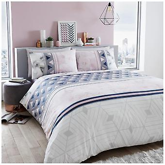 Marble Stripe Modern Duvet Quilt Cover Reversible Bedding Set with Pillow Case