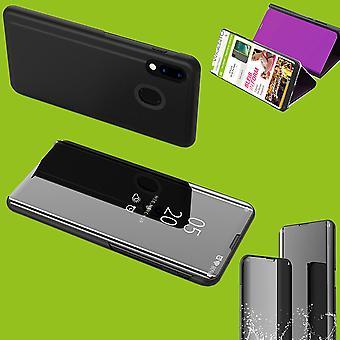 Für Samsung Galaxy A40 5.9 Zoll Clear View Spiegel Mirror Smartcover Schwarz Schutzhülle Cover Etui Tasche Hülle Neu Case Wake UP Funktion