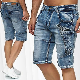 Mens Cargo Jeans Shorts Pants Denim 3/4 Biker Regular Fit Used Washed Trousers