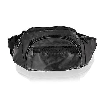 "Black Waist Bag 14.0"" Multi Pocket Adjustable Strap"