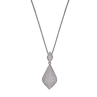 PENDANT WITH CHAIN 925 SILVER PAVE IN LINES ZIRCONIUM 276 STONES