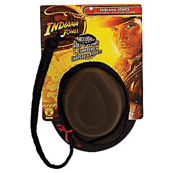 Indiana Jones Hero Cowboy Western Adult Men Costume Fedora Hat And Whip Set