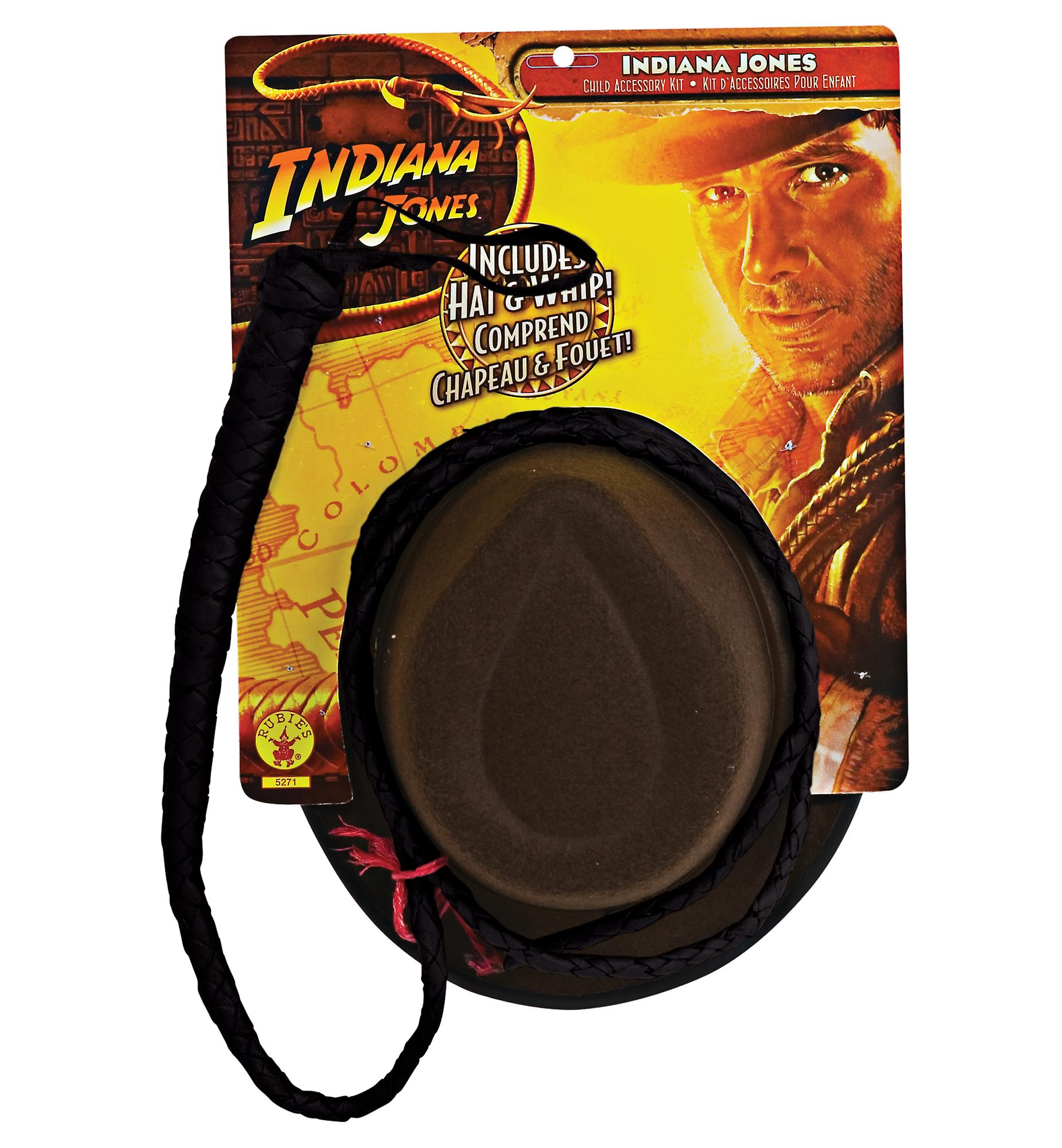 Indiana Jones Hero Cowboy Western Adult Men Costume Fedora Hat And Whip Set