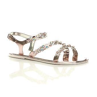 Ajvani kvinnors platt Diamante strappy spänne sommar gelé strandsandaler