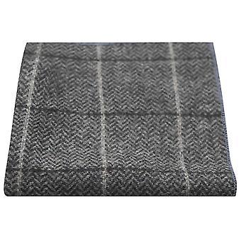 Luxury grafit grå Fiskbens kontrollera Tweed Pocket Square, näsduk