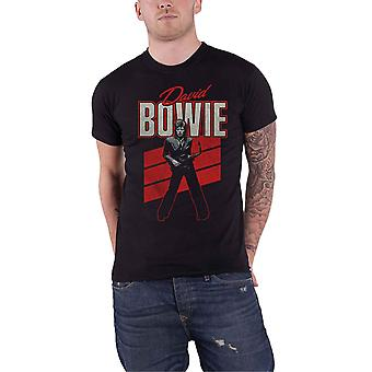 David Bowie T Shirt Red Sax Retro Logo new Official Mens Black