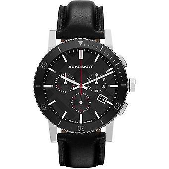Burberry Bu9382 cadran noir chronographe cuir Mens Watch