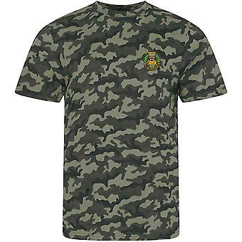 York och Lancaster Regiment-licensierade brittiska armén broderade kamouflage Print T-shirt