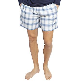 Cyberjammies 6425 Männer's Harper Blue Mix Check Cotton Pyjama Short