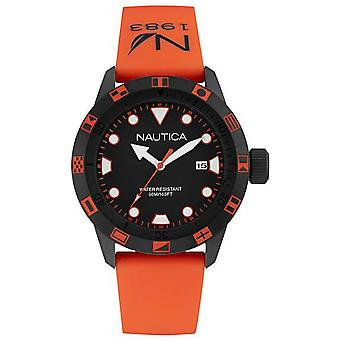 Nautica nsr 100 flag Japanese Quartz Analog Man Watch with NAI10077G Rubber Bracelet