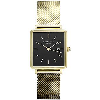 Rosefield boxy Quartz Analog Women Watch with QBMG-Q06 Gold Plated Stainless Steel Bracelet