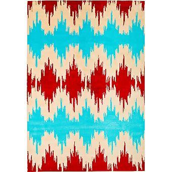 Pierre Cardin design matta i akryl Turkos/Röd