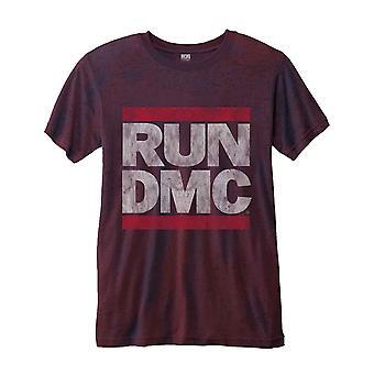 Run DMC T Shirt Logo Vintage new Official Mens Red  2-tone Burnout slim fit