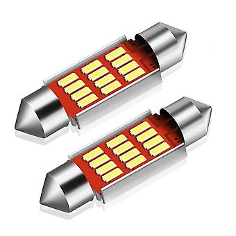 2X CANBUS C5W SV8, 5 festoon 12 LED 4014 36mm-hvit