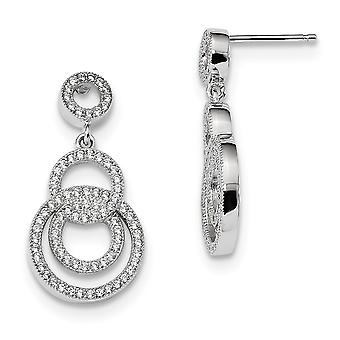 925 Sterling Silver Pave Rhodium plated and CZ Cubic Zirconia Simulated Diamond Fancy Circle Dangle Post Earrings Jewelr