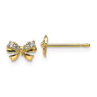 14k Yellow Gold Madi K CZ Cubic Zirconia Simulated Diamond for boys or girls Bow Post Earrings