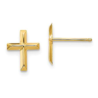 14k זהב צהוב מלוטש אמונה דתית לחצות עגילים צעדים 7.5 x6mm תכשיטים מתנות לנשים