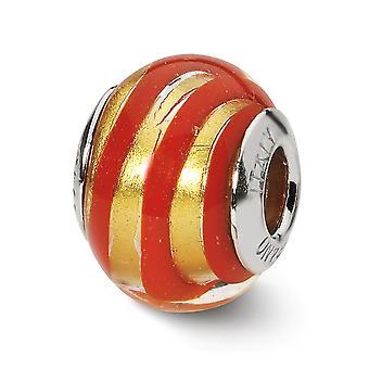 925 Sterling Silver Polerad italiensk Murano Glasreflektioner Guld Röd Italiensk Murano Pärla Charm Hänge Halsband Smycken