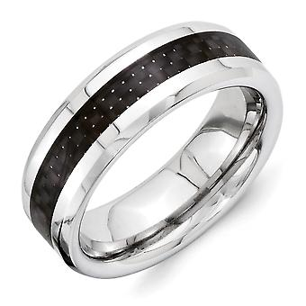 Vitalium Engravable Black Carbon Fiber 8mm Beveled Edge Polished Band Ring Size 10 Jewelry Gifts for Women