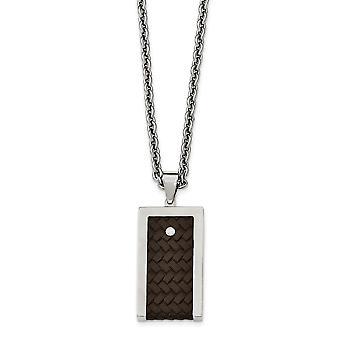 Reversible de acero inoxidable cepillado y pulido con collar de cuero marrón - 24 pulgadas