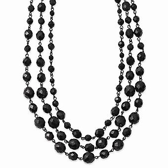 Fancy Lobster Closure Black plated Black Glass Beads 16inch With 3in Ext Necklace Jewelry Gifts for Women