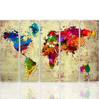 Five Part Picture On Canvas, Pentaptych, Type C, Color Map Of The World 2