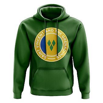 Saint Vincent og Grenadinene Football Badge hettegenser (grønn)