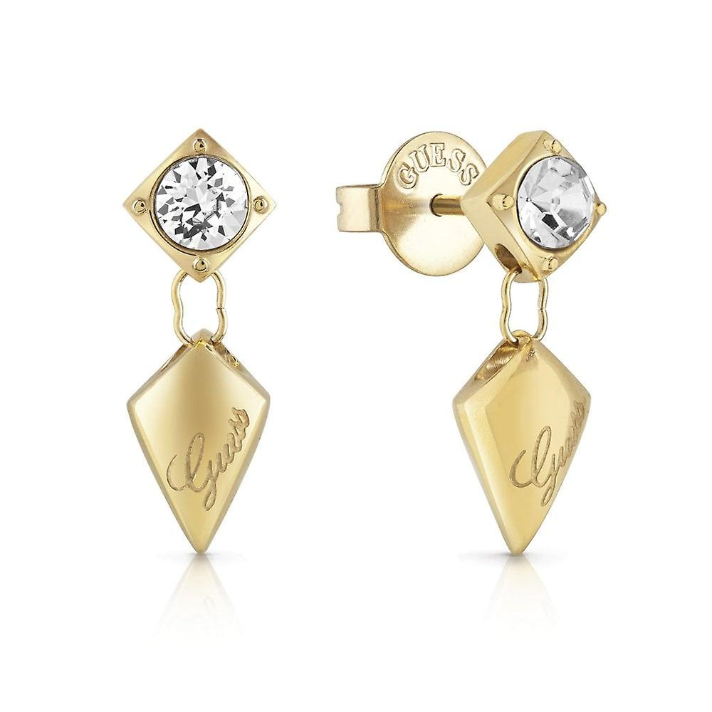 Guess Jewellery Quilted Stud Gold Earrings UBE29098