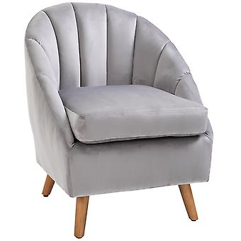 HOMCOM Velvet Fabric Dining Chair Single Sofa Armchair Home Living Room Solid Wood Leg Upholestered Accent Side Grey