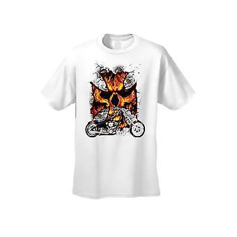 F1499AB17886D1 - Men-apos;s T Shirt Motorcycle Flame Skull Cross Short Sleeve