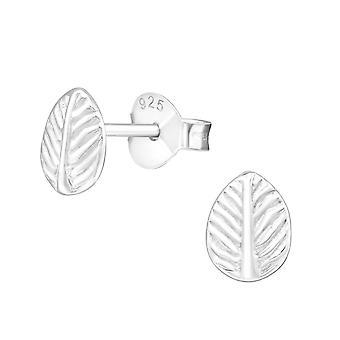 Leaf - 925 Sterling Silver Plain Ear Studs - W20824X