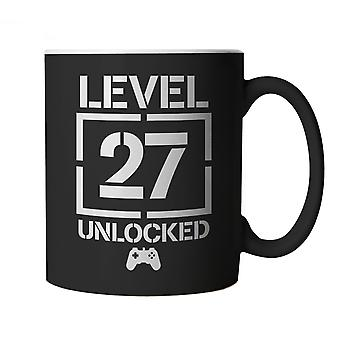 Level 27 Unlocked Video Game Birthday, Mug | Age Related Year Birthday Novelty Gift Present | 60s 70s 80s 90s Dad Grandad Son Mum Daughter | Gaming Cup Gift