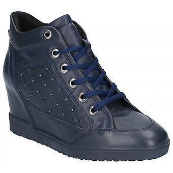 GEOX Carum Ladies Leather Wedge Heel Ankle Boots Navy