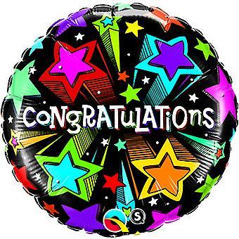 Qualatex 18 Inch Round Shooting Stars Congratulations Foil Balloon