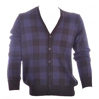 Energie Button Close Blue Check Cardigan