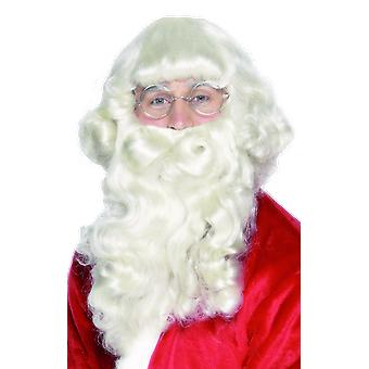 Deluxe Santa White Wig And Beard Christmas Fancy Dress