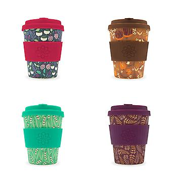 Ecoffee Eco-Friendly 12oz 340ml Tiny Garden Reusable Bamboo Tea & Coffee Cups With Silicone Lid Top For Travel & Home - Various Colours