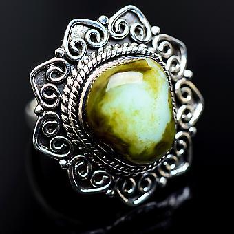 Stor Ocean jaspis ring storlek 8 (925 sterling silver)-handgjorda Boho Vintage smycken RING982175