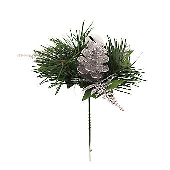19cm Silver Glitter Pine Cone, Fern & Bell Pick for Christmas Floristry